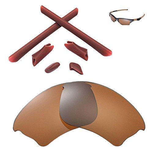 Walleva Ersatzgläser oder Linsen / Gummisatz für Oakley Half Jacket XLJ Sonnenbrille - 41 Optionen (Braun Polarisierte Linsen + Braun Gummi)