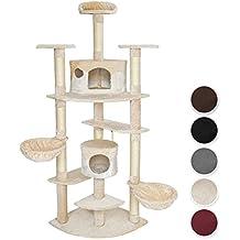 TecTake Rascador Árbol para gatos 201 cm de altura - disponible en diferentes colores - (beige-blanco | no. 402186)