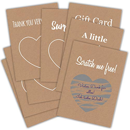 Gutscheine Karte 8 x DIN A6 Scratch Card Geschenk Karte Scratch Hochzeit Geburtstag Überraschung Kraftpapier Weiß Print Kratzfrei Weihnachten Gutschein Scratch Sticker