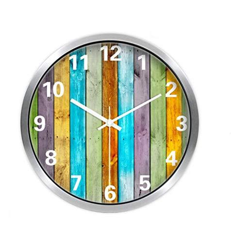 YHEGV Einfache, farbenfrohe Retro Moderne Wanduhr Gemeinschaften Leise Wanduhr aus Metall Wohnzimmer Esszimmer Küche Wanduhr 25 cm/30 cm/35 cm, Geld, 30 cm