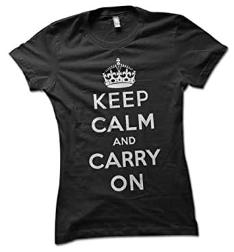 bybulldog® Keep Calm and Carry On Ladies T-Shirt British World War II Poster Black Large 16