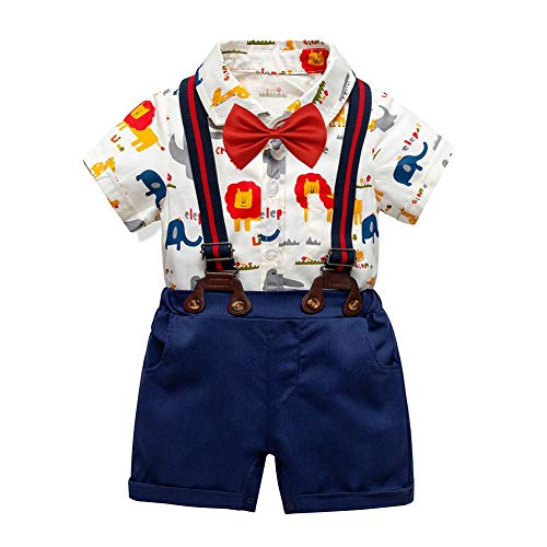 Gyratedream Newborn Baby Boys Clothing Set for 0-2 Years,Summer Baby Boy Solid Strap Shorts Short Sleeve Casual Cartoon Print Romper Gentle Outfits 2 Pcs Clothes Set