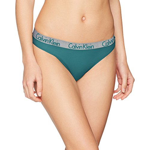 Calvin Klein Damen String Thong, Blau (Mesmerize 1Mz), 12 (Herstellergröße: Large) (Klein Brief Calvin Bikini)