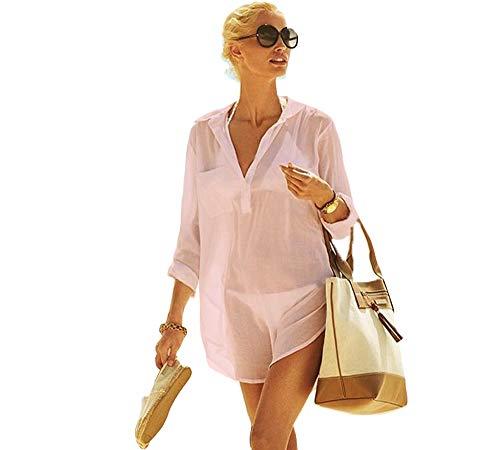 LLG Frauen Kimono Bluse Beachwear Bikini vertuschen Bademode Badeanzug V-Ausschnitt Strand Badekleid und Kaftan Bluse für Damen (Pink, M) (Midi-bikini-badeanzug)