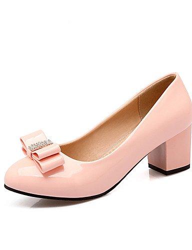 WSS 2016 Chaussures Femme-Bureau & Travail / Décontracté-Noir / Bleu / Rose / Beige-Gros Talon-Talons / Confort / Bout Pointu-Talons-Cuir Verni / pink-us6.5-7 / eu37 / uk4.5-5 / cn37