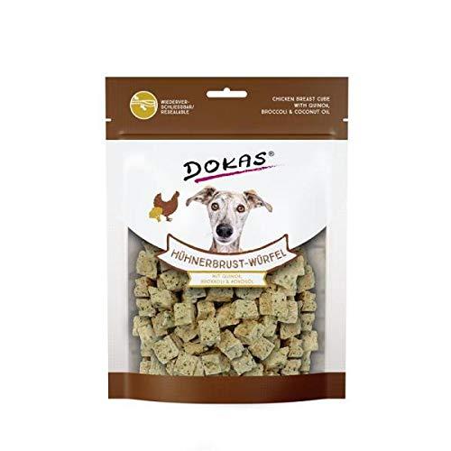 DOKAS Hühnerbrust-Würfel - Premium Superfood-Snack für Hunde aus Hühnerbrust - Mit Quinoa, Brokkoli & Kokosöl - 1 x 150 g