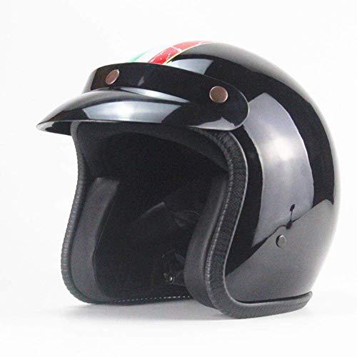 Gwanna Motorradhelm, offenes Gesicht, Vintage-Stil, für Damen und Herren, Schwarz, XL