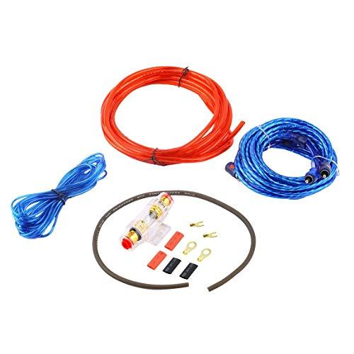Metall 800 Watt 14GA Auto Audio Subwoofer Verstärker AMP Verdrahtung Sicherungshalter Draht Kabel Unterstützung Installation Kit Geräuscharm Verzerrung (Farbe: rot & blau & schwarz) (Auto-audio-subwoofer-draht)