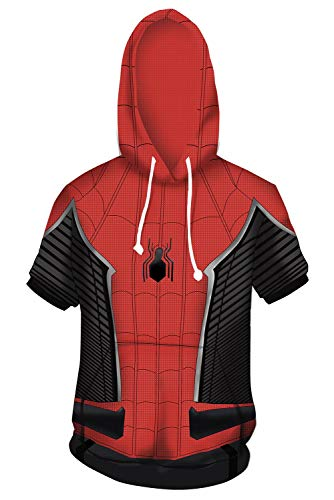 RedJade Herren Damen Anime Cosplay Kostüm Superheld Spider-Man:Homecoming Kurzarm T-Shirt Pullover Hoodie