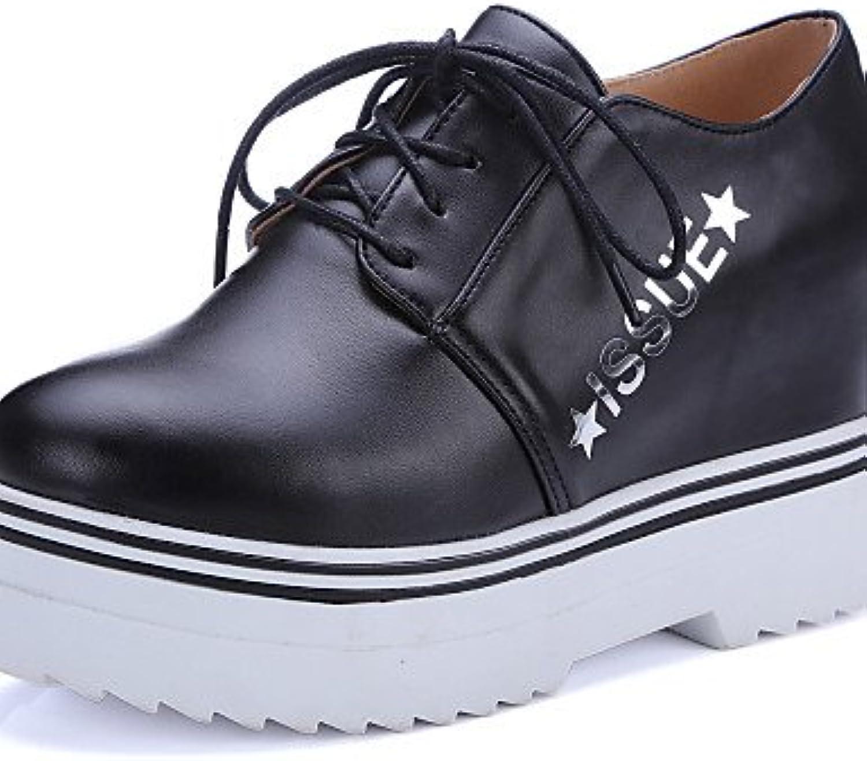 ZQ hug Zapatos de mujer-Tacón Cuña-Cuñas-Tacones-Casual-Semicuero-Negro / Blanco , black-us8.5 / eu39 / uk6.5...