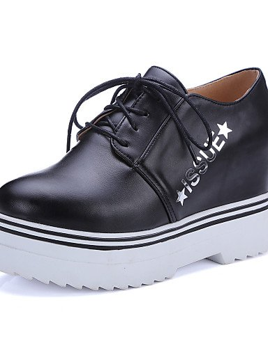 ZQ hug Scarpe Donna-Scarpe col tacco-Casual-Zeppe-Zeppa-Finta pelle-Nero / Bianco , black-us8.5 / eu39 / uk6.5 / cn40 , black-us8.5 / eu39 / uk6.5 / cn40 white-us10.5 / eu42 / uk8.5 / cn43
