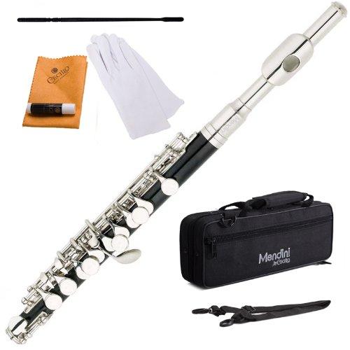 Mendini MPO-EN Vernickelt C-Ton Piccoloflöten mit Koffer schwarz