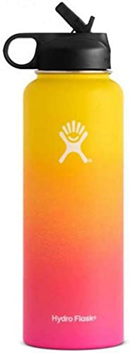 Sports Water Bottle - Stainless Steel & Vacuum Insulated - Wide Mouth with One Straw Lid -Yellow Pink - 32OZ(951ML)