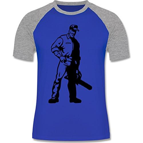 Handwerk - Holzfäller - Herren Baseball Shirt Royalblau/Grau meliert