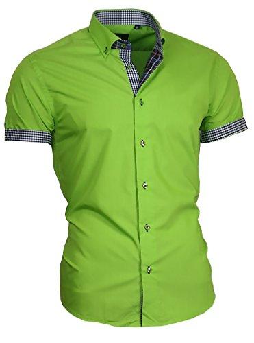 Louis Binder de Luxe Herren Hemd Shirt modern fit Kurzarm Button-Down-Kragen 833 grün L 42 (Button-down-kragen-shirt)