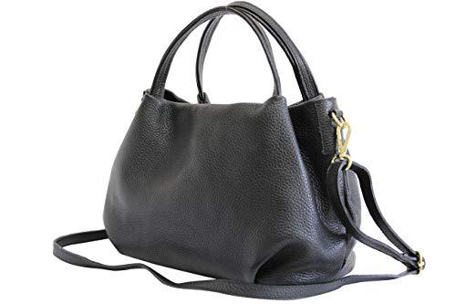 AmbraModa Damen handtasche Henkeltasche Schultertasche aus Echtleder GL023 (Schwarz)