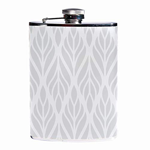 Leak Proof Liquor Hip Flask 7.6 oz Flagon Mug Leather Cover with Ethnic Floral print Pocket Container for Discrete Shot Drinking of Whiskey Alcohol Liquor -