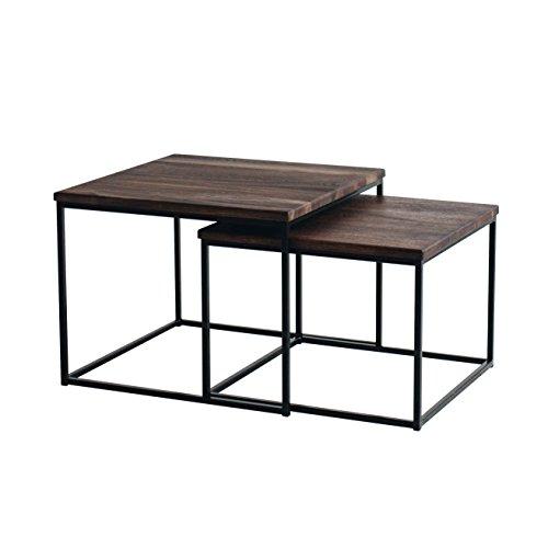 Original BestLoft®2er-Set Couchtisch (MSD) Eiche Metall Beistelltisch Industiedesign loft Vintage Sofatisch massiv Holz (Eiche geräuchert)