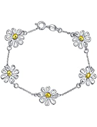 Bling Jewelry 925 Sterling Silver Gold Plated Daisy Bracelet 7 Inch