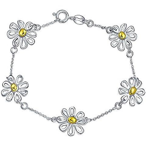 Bling Jewelry 925 Sterling Silver Oro Vermeil Daisy Bracciale 7 pollici
