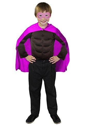 ILOVEFANCYDRESS SUPERHELDEN Hero Kinder Jungen MÄDCHEN KOSTÜM VERKLEIDUNG =ROSA UMHANG+ROSA Maske +MUSKELSHIRT IN 6 Farben+ 2 GRÖSSEN=Fasching Karneval=BRAUNES Muskel Shirt-XLarge (Daredevil-kostüm Für Kinder)