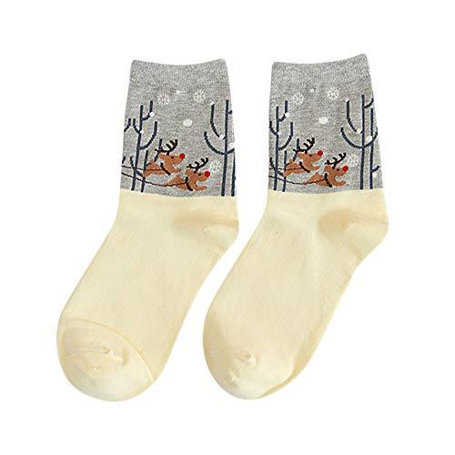 Yazidan Weihnachten Frauen Socken Heiße Herbst Winter Baumwolle Mode Trekkingsocken, Wollsocken für den Alltag, ideal im Herbst, Wanderstrümpfe für Outdoor-Aktivitäten, getesteter Komfort