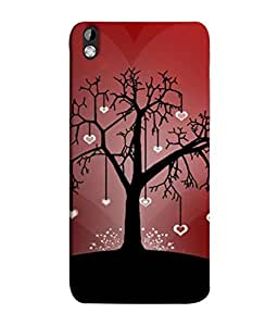 FUSON Designer Back Case Cover for HTC Desire 816 :: HTC Desire 816 Dual Sim :: HTC Desire 816G Dual Sim (Tree Silhouette Spring Cherry Tree Lovers Shining )
