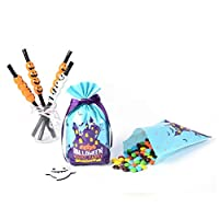uyfrtdredswes Bags Treat Or Trick Candy Cookie Party Favor Bags with Pumpkin Design Pack of 50