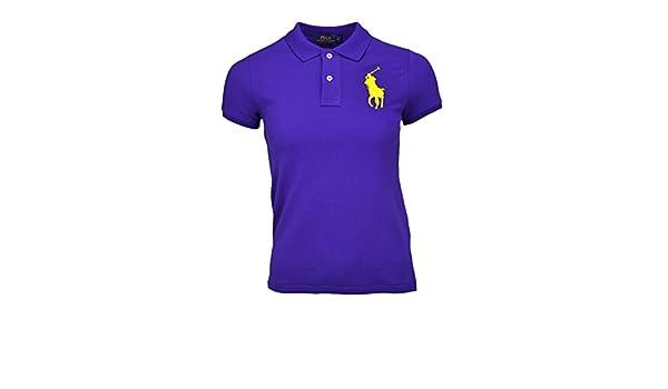Polo manches courtes Ralph Lauren Big Poney violet pour femme  Amazon.fr   Vêtements et accessoires 744f8521f32