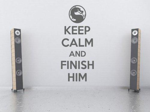 "Preisvergleich Produktbild ""Keep Calm And Finish Him - Mortal Kombat Vinyl Wandtattoo,  Dove Grey,  Medium: 40cm x 100cm / 16"" x 39"""
