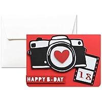 18 ans - Heureux B jour - jour-bonheur - carte de voeux avec enveloppe (10,5 x 15 cm) - carte faite à la main - blanc à l'intérieur