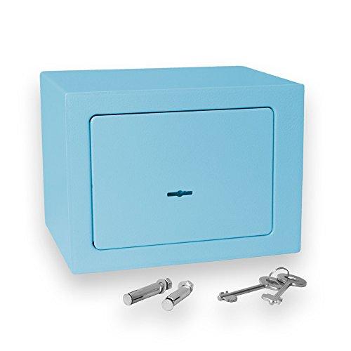 Bonzus® Minicassaforte minicassetta di sicurezza cassaforte mini cassaforte safe cassetta di sicurezza cassaforte a muro cassaforte di sicurezza (blu)