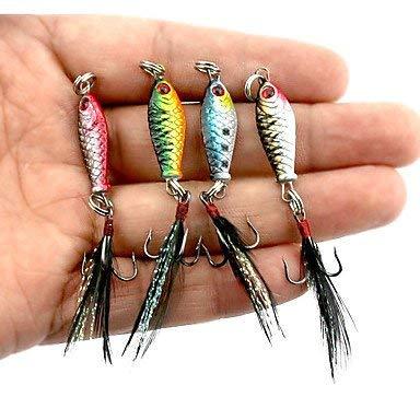 ZTMN 4 Stück Metallköder Jigs Angelköder Jigs Metallköder, 25 mm, Blei MetalSea Fishing Bait Casting Spinning -