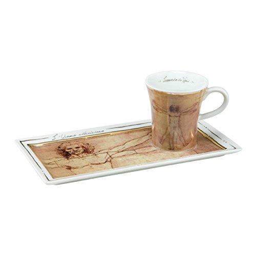 Goebel 66513912'Der vitruvianische Mensch Espresso Set, Porzellan, bunt, 20 x 10 x 7,5 cm