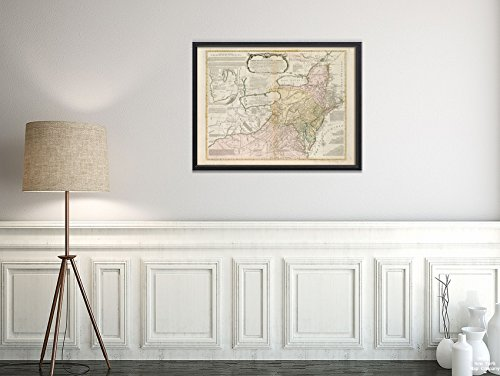 New York Map Company LLC 1771 Karte Northeastern USA A General of The Middle British Colonies in America, viz. Virgin-Historic Vintage Nachdruck, fertig zum Einrahmen -