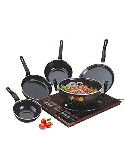 NAOE™ RYNOX Non-Stick Non Stick enamelware induction base Cookware pan Set, 5-Pieces, Black