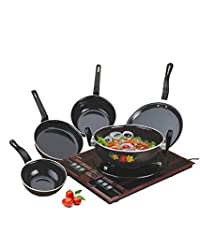 "NAOEâ""¢ RYNOX Non-Stick Non Stick enamelware induction base Cookware pan Set, 5-Pieces, Black"