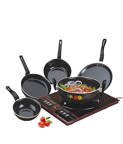 NAOE Induction Base Stainless Steel Cookware Pan Set, 5-Pieces, Black