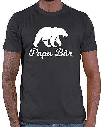 HARIZ  Herren T-Shirt Papa Bär Papa Vater Geburtstag zur Geburt Inkl. Geschenk Karte Dunkel Grau M