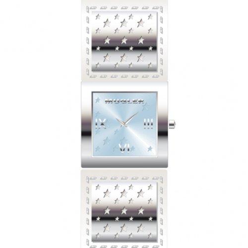 Thierry Mugler 4705801 - Reloj analógico de cuarzo para mujer con correa de piel, color blanco