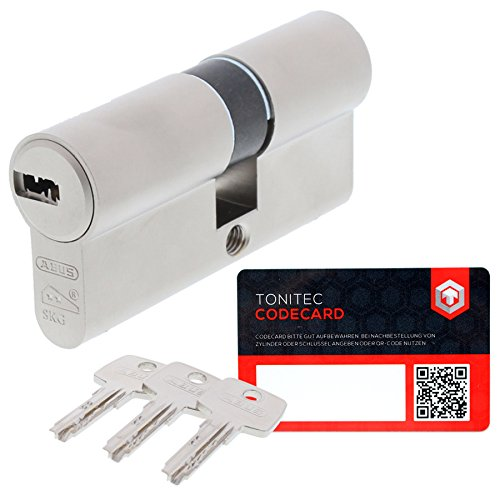 ABUS Schließzylinder Schließanlage Zylinderschloss als Doppelzylinder gleichschließend EC550 mit 3 Schlüssel inkl. ToniTec CodeCard Größe 40 45 mm Schließung 1