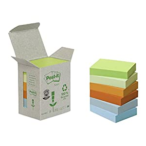 Post-it 653-1GB 38mm x 51mm Recycled Notes Pad Tower Pack - Pastel Rainbow (Box of 6, 100 Sheets Per Pad)