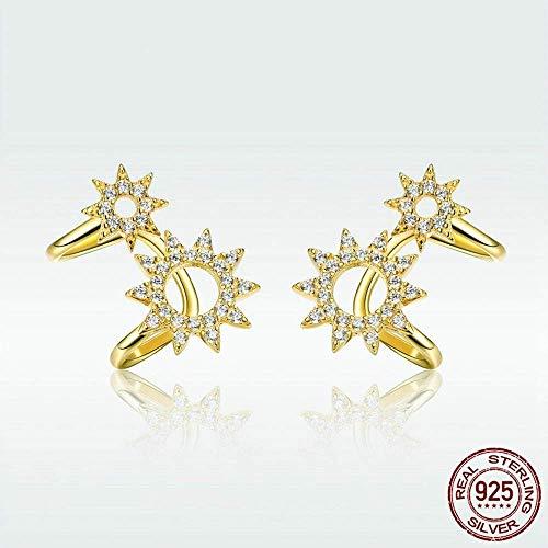 S-PJZ Sterling Silber Gold Farbe Sun Clip Ohrringe für Frauen Schmuck Geburtstagsfeier Geschenk, Gold, a - Platin-geld-clip