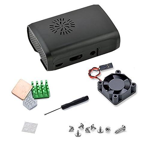 Raspberry Pi 3 Fan Case, Aukru Black Case with Cooling Fan Heatsink for Raspberry Pi 3 Model B Accessories Pi 2 Model B + Desktop Starter Kit (Case, Cooling Fan, Heat sink)