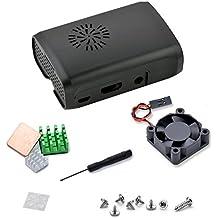 Aukru Raspberry Pi set Transparent Case Boitier avec Ventilateur (Brushless DC Fan) + Dissipateur thermique pour Raspberry Pi 3 Model B+ / Raspberry Pi 3 Model B / Raspberry Pi 2 modele B et RasPi B+ (B Plus) - Noir