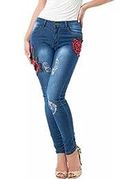 ESAILQ Mujer Otoño Delgado Pantalones Bordados pequeños pies Pantalones  Vaqueros elásticos 11b330b39ad9