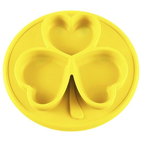 Baby Silikon Teller, AngelaKerry Shamrock Kinder Tischset Silikon Platzdeckchen, Antibakterielle Waschbar Rutschfest Matte, Tragbare Reise Fütterung Geschirr, für Kleinkind Essen, BPA Frei - Gelb (Shamrock Teller)