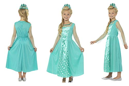 Childrens Kids Girls - Ice Princess Queen Elsa Blue Snow Dress Up Costume - Christmas Panto Nativity Party Fun 21837 - (Teen Kids UK 13-15 Years) ()