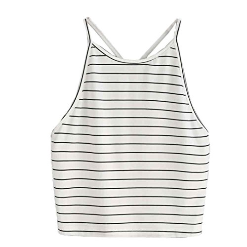 TWIFER Damen Mode Crop Tank Tops Ärmelloses T-Shirt Gestreiftes Camisole (Shirt Camisole Top)