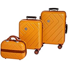 85b10e102e ... rigido cabin size effetto ... Enrico Coveri Moving Set Due Trolley + Beauty  Case da Viaggio, Valigie Rigide ABS Arancio